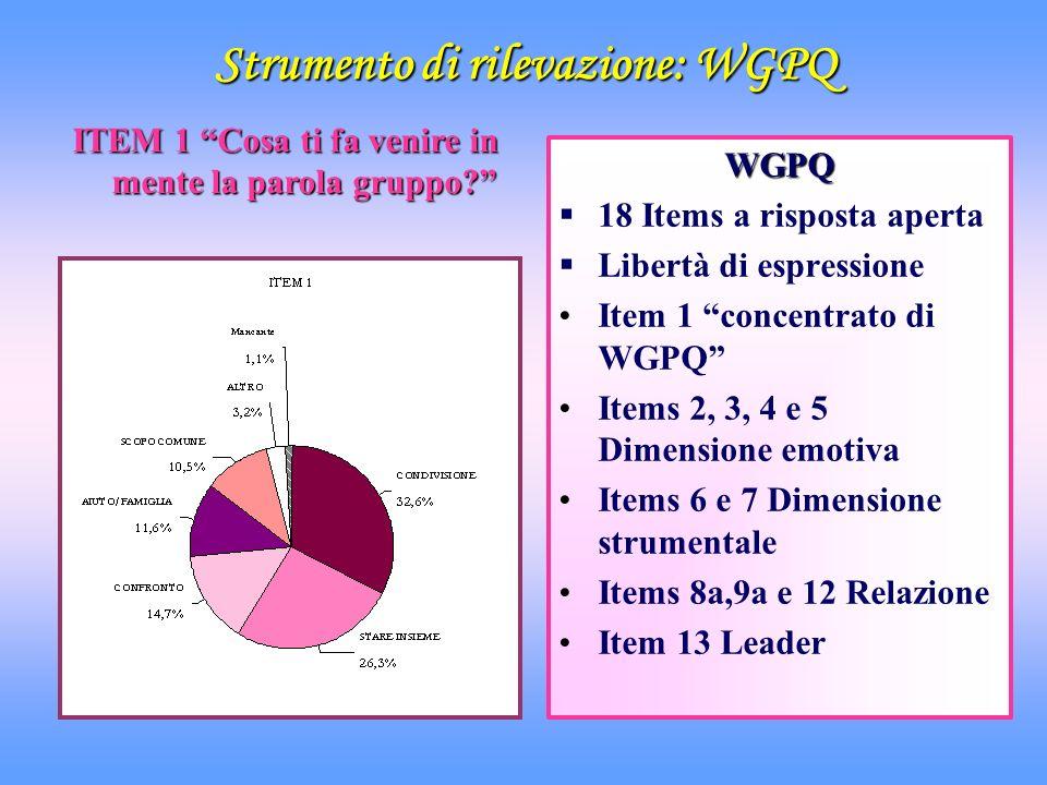Strumento di rilevazione: WGPQ ITEM 1 Cosa ti fa venire in mente la parola gruppo? WGPQ 18 Items a risposta aperta Libertà di espressione Item 1 conce