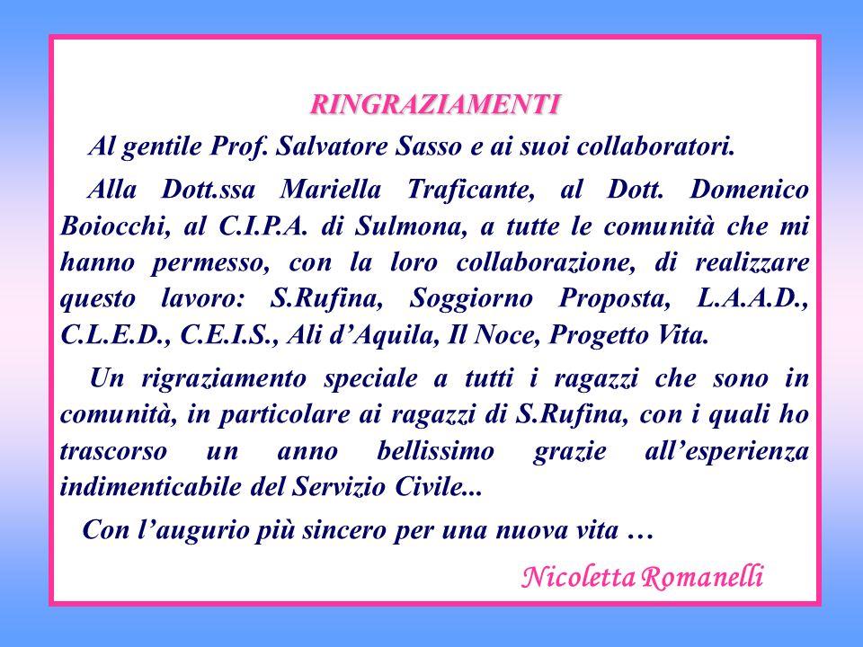 RINGRAZIAMENTI Al gentile Prof. Salvatore Sasso e ai suoi collaboratori. Alla Dott.ssa Mariella Traficante, al Dott. Domenico Boiocchi, al C.I.P.A. di