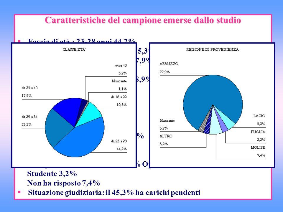 Caratteristiche del campione emerse dallo studio Fascia di età : 23-28 anni 44,2% Sesso: Maschi 93,7% Femmine 5,3% Provenienza: regione Abruzzo 77,9%