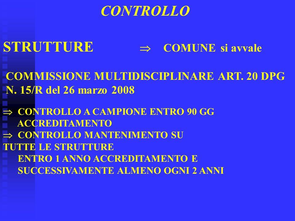 CONTROLLO STRUTTURE COMUNE si avvale COMMISSIONE MULTIDISCIPLINARE ART. 20 DPG N. 15/R del 26 marzo 2008 CONTROLLO A CAMPIONE ENTRO 90 GG ACCREDITAMEN