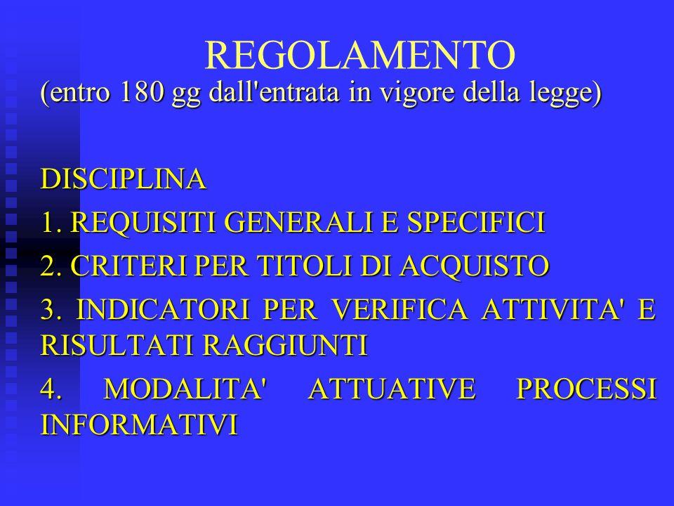 REGOLAMENTO (entro 180 gg dall'entrata in vigore della legge) DISCIPLINA 1. REQUISITI GENERALI E SPECIFICI 2. CRITERI PER TITOLI DI ACQUISTO 3. INDICA