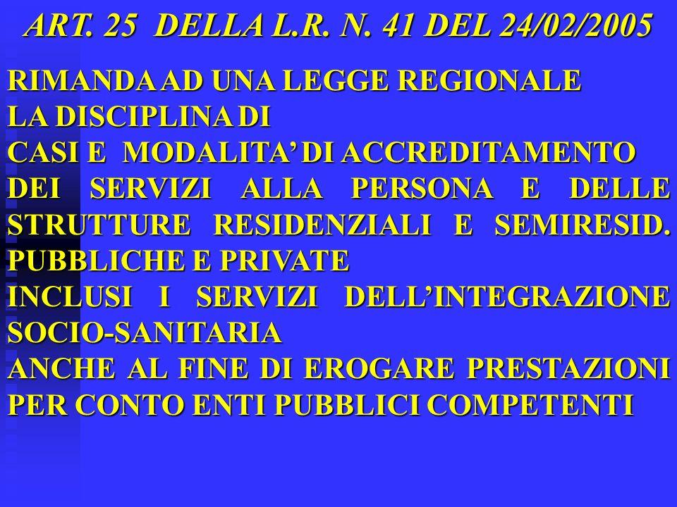 ART. 25 DELLA L.R. N. 41 DEL 24/02/2005 RIMANDA AD UNA LEGGE REGIONALE LA DISCIPLINA DI CASI E MODALITA DI ACCREDITAMENTO DEI SERVIZI ALLA PERSONA E D