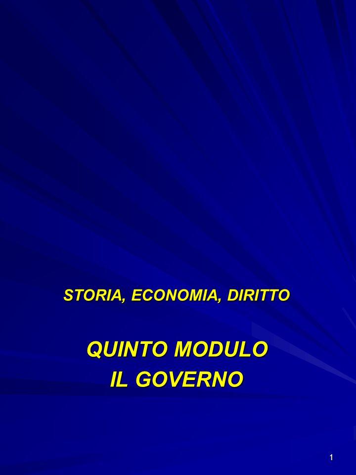 1 STORIA, ECONOMIA, DIRITTO QUINTO MODULO IL GOVERNO