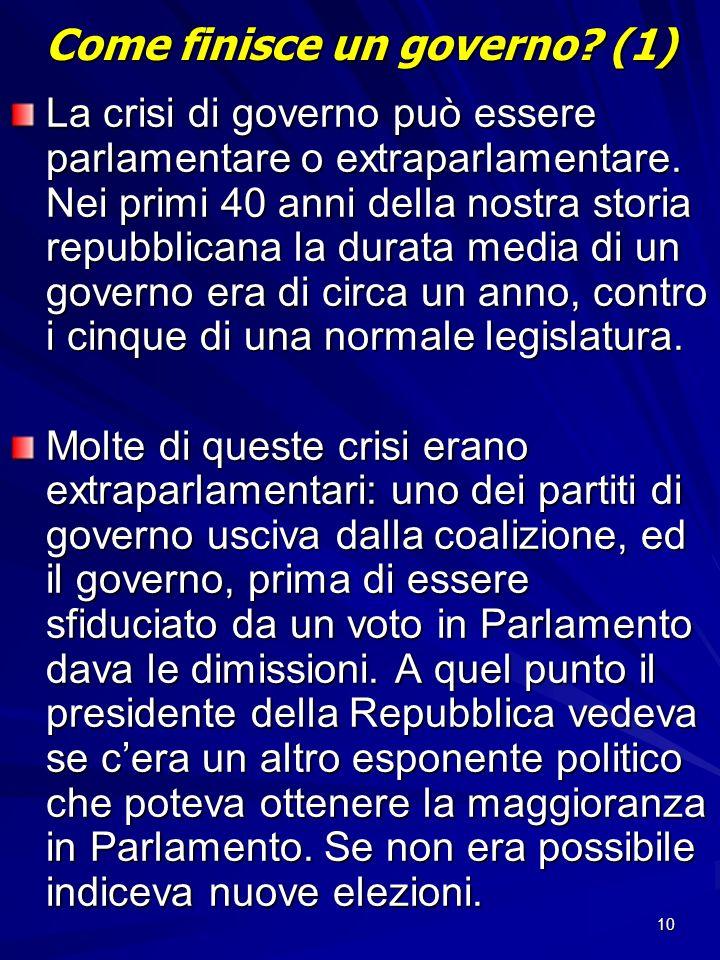 10 Come finisce un governo? (1) La crisi di governo può essere parlamentare o extraparlamentare. Nei primi 40 anni della nostra storia repubblicana la