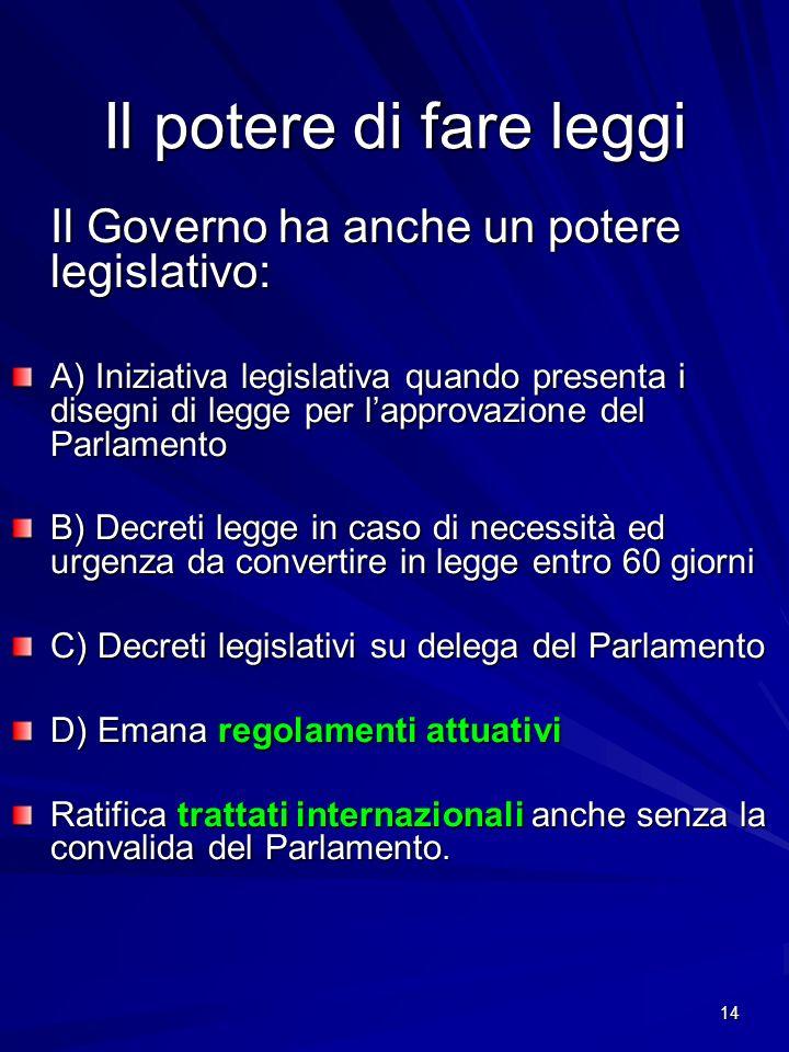14 Il potere di fare leggi Il Governo ha anche un potere legislativo: A) Iniziativa legislativa quando presenta i disegni di legge per lapprovazione d