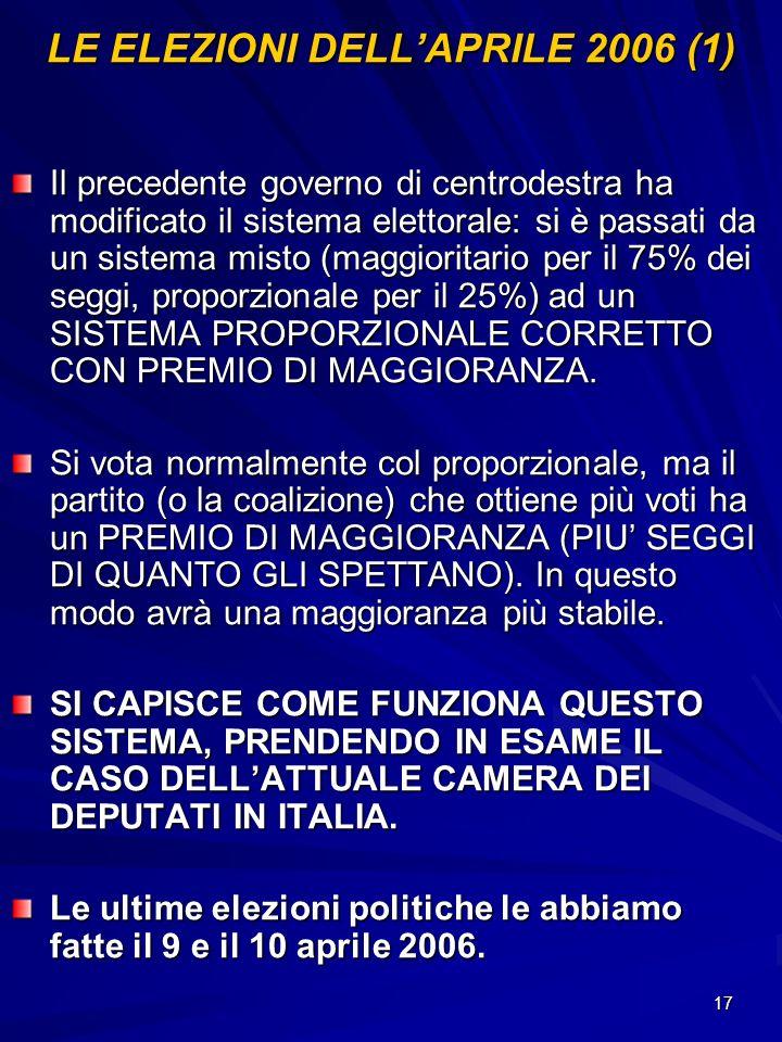 17 LE ELEZIONI DELLAPRILE 2006 (1) Il precedente governo di centrodestra ha modificato il sistema elettorale: si è passati da un sistema misto (maggio