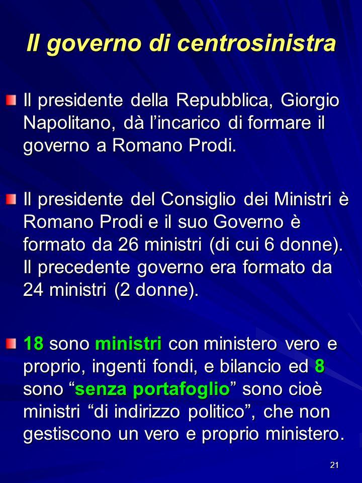 21 Il governo di centrosinistra Il presidente della Repubblica, Giorgio Napolitano, dà lincarico di formare il governo a Romano Prodi. Il presidente d