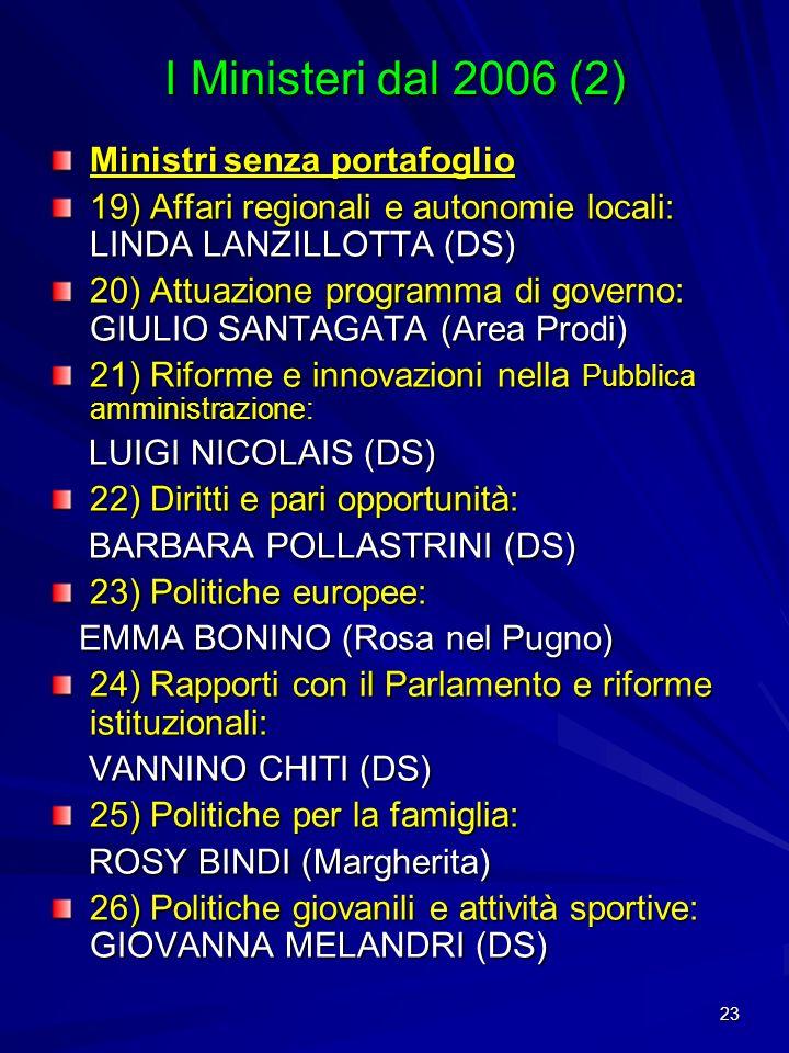 23 I Ministeri dal 2006 (2) Ministri senza portafoglio 19) Affari regionali e autonomie locali: LINDA LANZILLOTTA (DS) 20) Attuazione programma di gov