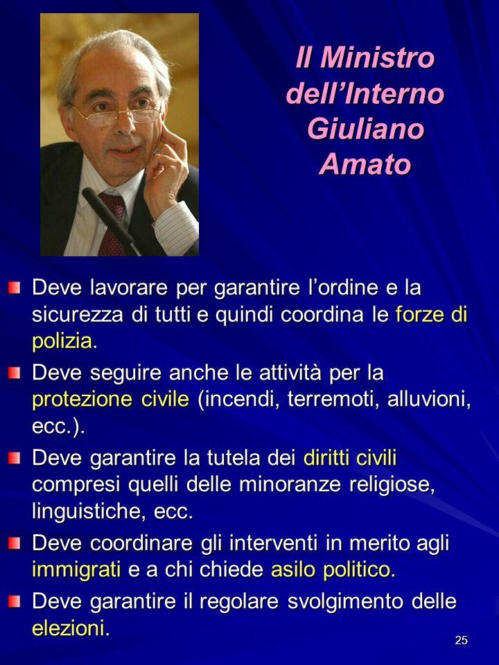 25 Il Ministro dellInterno Giuliano Amato Deve lavorare per garantire lordine e la sicurezza di tutti e quindi coordina le forze di polizia. Deve segu