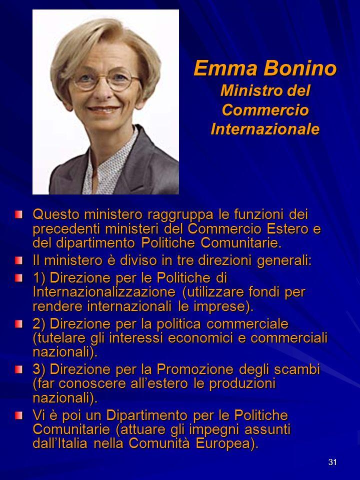 31 Emma Bonino Ministro del Commercio Internazionale Questo ministero raggruppa le funzioni dei precedenti ministeri del Commercio Estero e del dipart