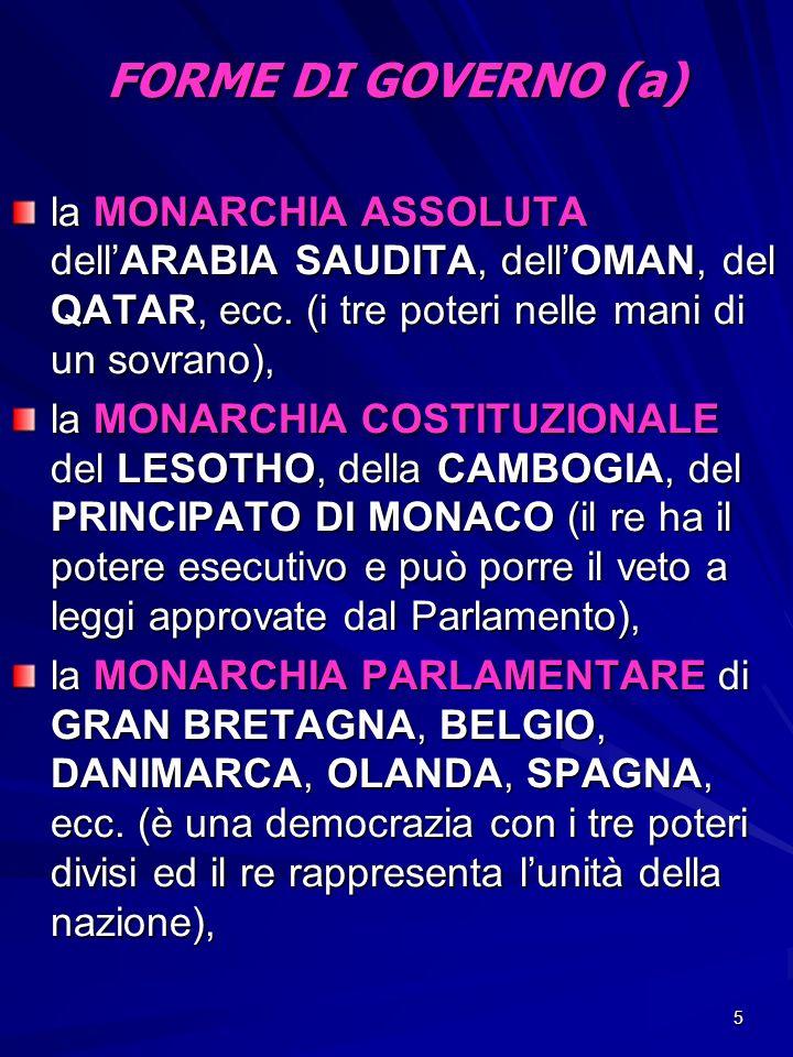 5 FORME DI GOVERNO (a) la MONARCHIA ASSOLUTA dellARABIA SAUDITA, dellOMAN, del QATAR, ecc. (i tre poteri nelle mani di un sovrano), la MONARCHIA COSTI