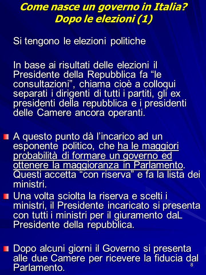 8 Come nasce un governo in Italia? Dopo le elezioni (1) Si tengono le elezioni politiche In base ai risultati delle elezioni il Presidente della Repub