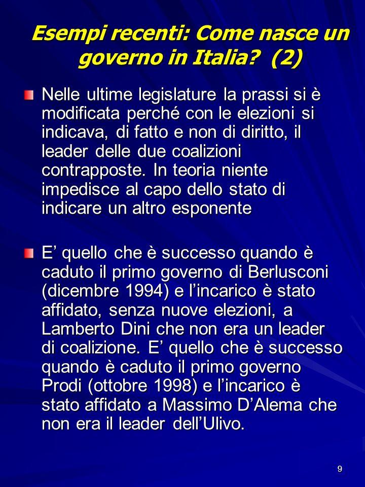9 Esempi recenti: Come nasce un governo in Italia? (2) Nelle ultime legislature la prassi si è modificata perché con le elezioni si indicava, di fatto