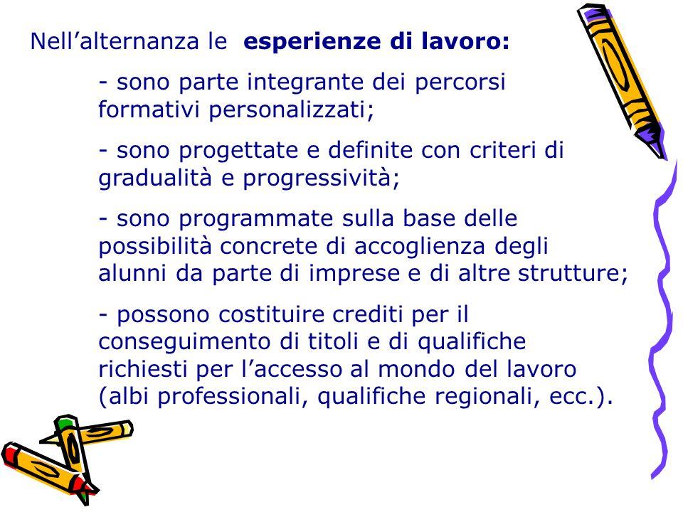 Nellalternanza le esperienze di lavoro: - sono parte integrante dei percorsi formativi personalizzati; - sono progettate e definite con criteri di gra