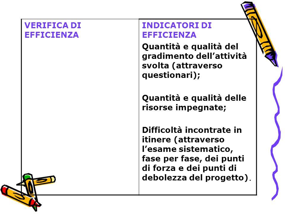 VERIFICA DI EFFICIENZA INDICATORI DI EFFICIENZA Quantità e qualità del gradimento dellattività svolta (attraverso questionari); Quantità e qualità del