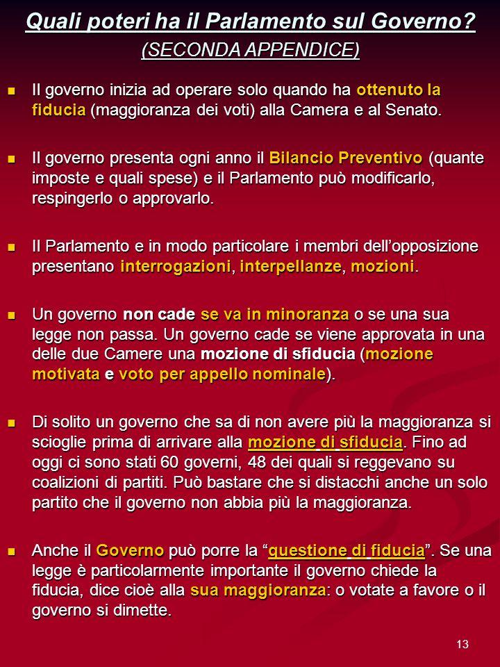 13 Quali poteri ha il Parlamento sul Governo? (SECONDA APPENDICE) Il governo inizia ad operare solo quando ha ottenuto la fiducia (maggioranza dei vot