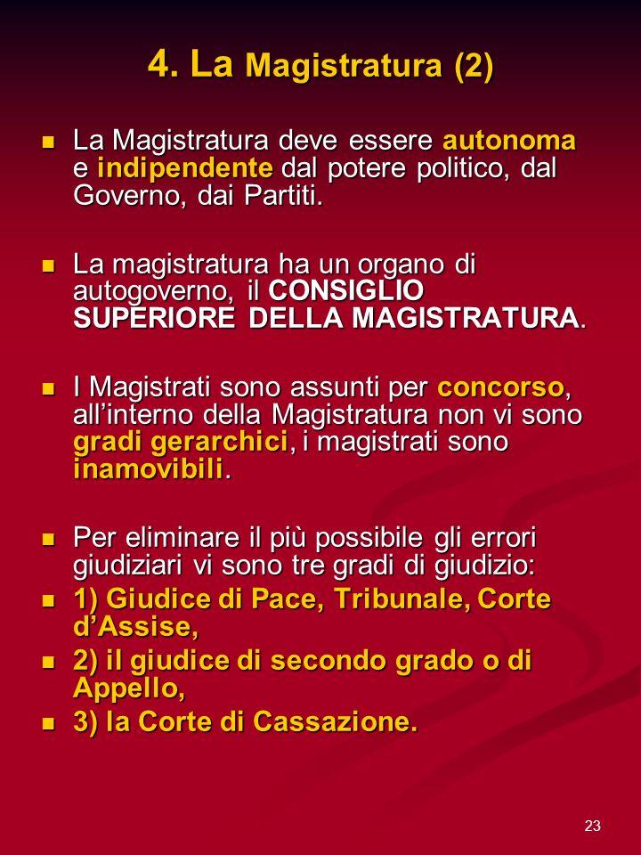 23 4. La Magistratura (2) La Magistratura deve essere autonoma e indipendente dal potere politico, dal Governo, dai Partiti. La Magistratura deve esse