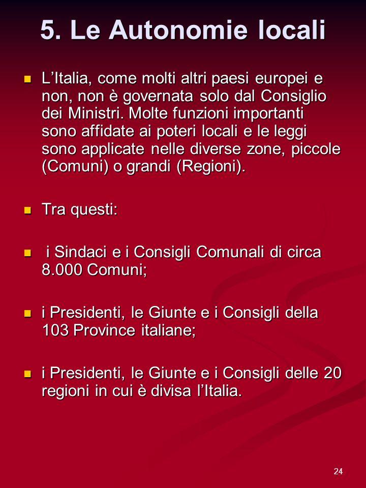 24 5. Le Autonomie locali LItalia, come molti altri paesi europei e non, non è governata solo dal Consiglio dei Ministri. Molte funzioni importanti so