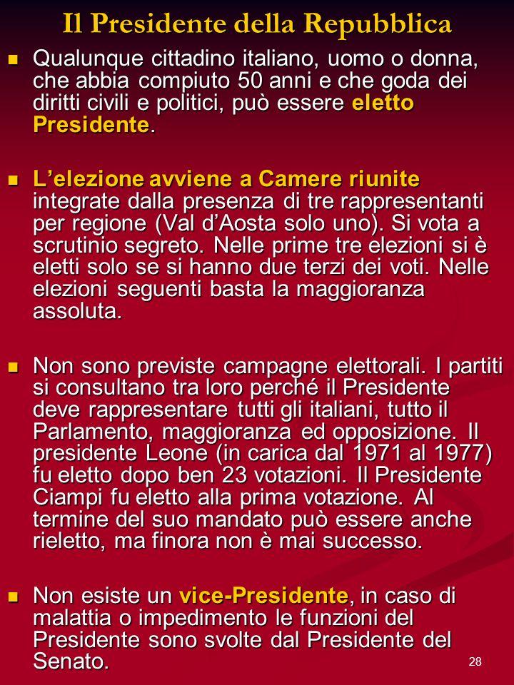 28 Il Presidente della Repubblica Qualunque cittadino italiano, uomo o donna, che abbia compiuto 50 anni e che goda dei diritti civili e politici, può