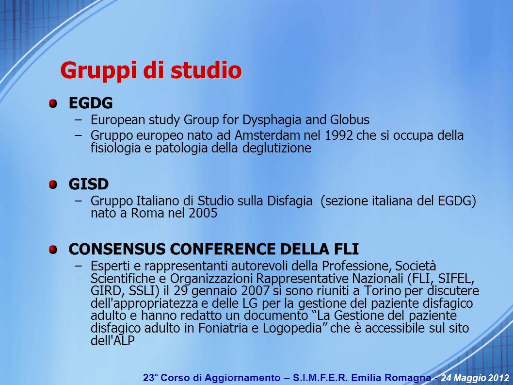 23° Corso di Aggiornamento – S.I.M.F.E.R. Emilia Romagna - 24 Maggio 2012 Gruppi di studio EGDG –European study Group for Dysphagia and Globus –Gruppo
