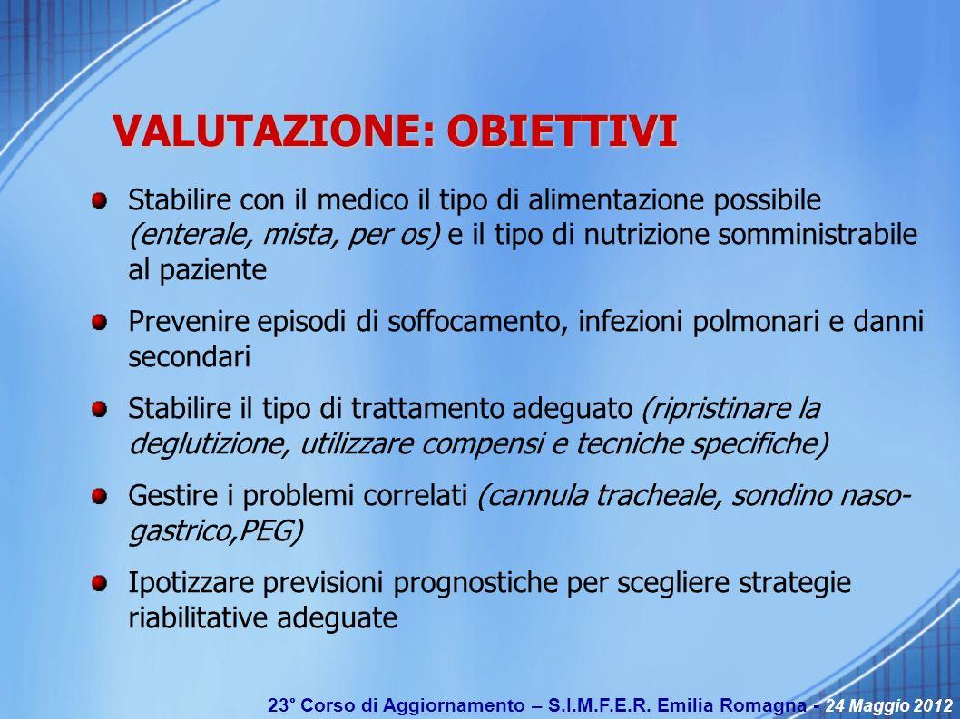 23° Corso di Aggiornamento – S.I.M.F.E.R. Emilia Romagna - 24 Maggio 2012 VALUTAZIONE: OBIETTIVI Stabilire con il medico il tipo di alimentazione poss