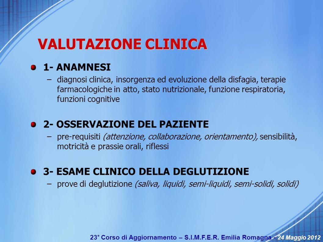 23° Corso di Aggiornamento – S.I.M.F.E.R. Emilia Romagna - 24 Maggio 2012 VALUTAZIONE CLINICA 1- ANAMNESI –diagnosi clinica, insorgenza ed evoluzione
