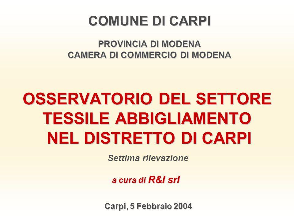 OSSERVATORIO DEL SETTORE TESSILE ABBIGLIAMENTO NEL DISTRETTO DI CARPI Carpi, 5 Febbraio 2004 COMUNE DI CARPI PROVINCIA DI MODENA CAMERA DI COMMERCIO D