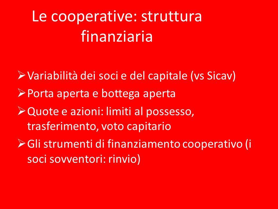 Le cooperative: struttura finanziaria Variabilità dei soci e del capitale (vs Sicav) Porta aperta e bottega aperta Quote e azioni: limiti al possesso,