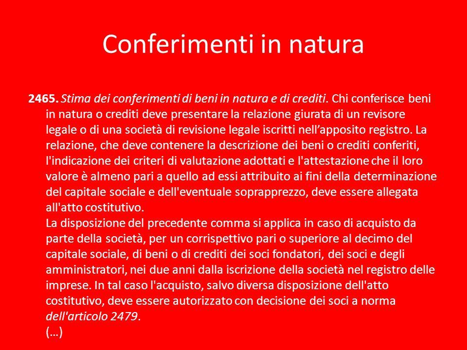 Conferimenti in natura 2465. Stima dei conferimenti di beni in natura e di crediti. Chi conferisce beni in natura o crediti deve presentare la relazio