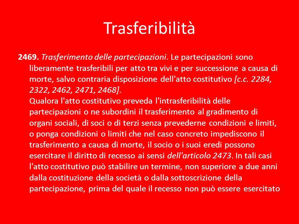 Trasferibilità 2469. Trasferimento delle partecipazioni. Le partecipazioni sono liberamente trasferibili per atto tra vivi e per successione a causa d