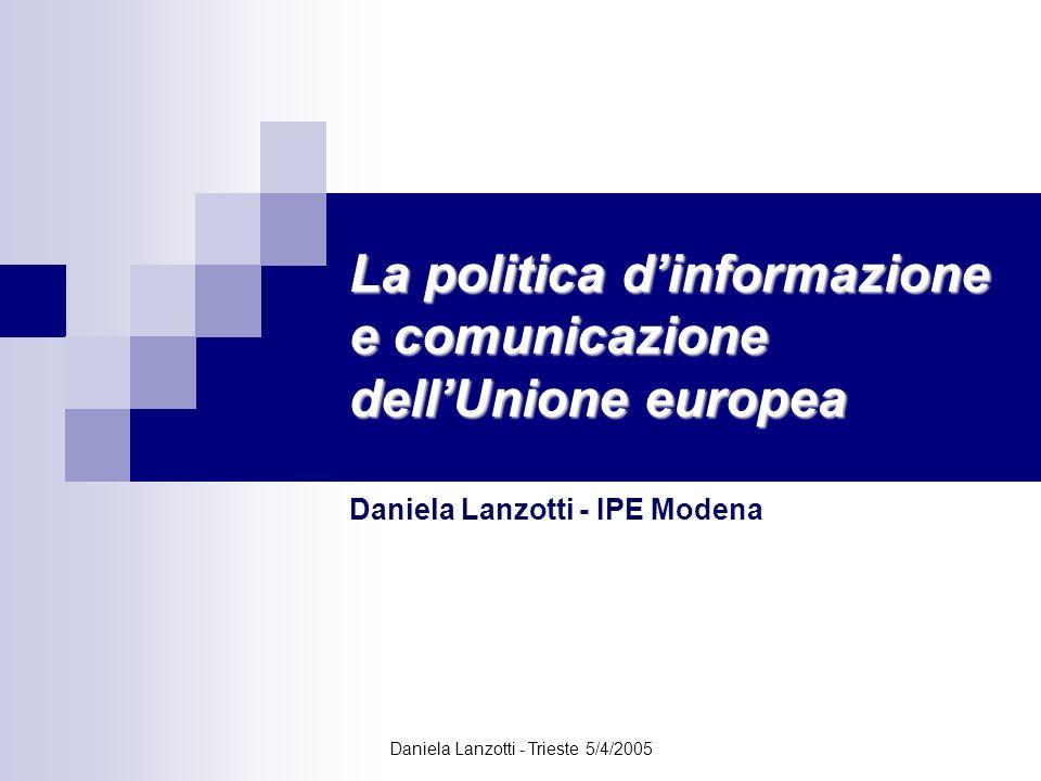 Daniela Lanzotti - Trieste 5/4/2005 Documenti chiave Libro Bianco sulla governance europea adottato dalla Commissione europea nel luglio 2001 la democrazia dipende dalla possibilità di tutti di partecipare al dibattito pubblico.