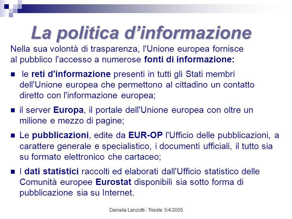 Daniela Lanzotti - Trieste 5/4/2005 La politica dinformazione Nella sua volontà di trasparenza, l'Unione europea fornisce al pubblico l'accesso a nume