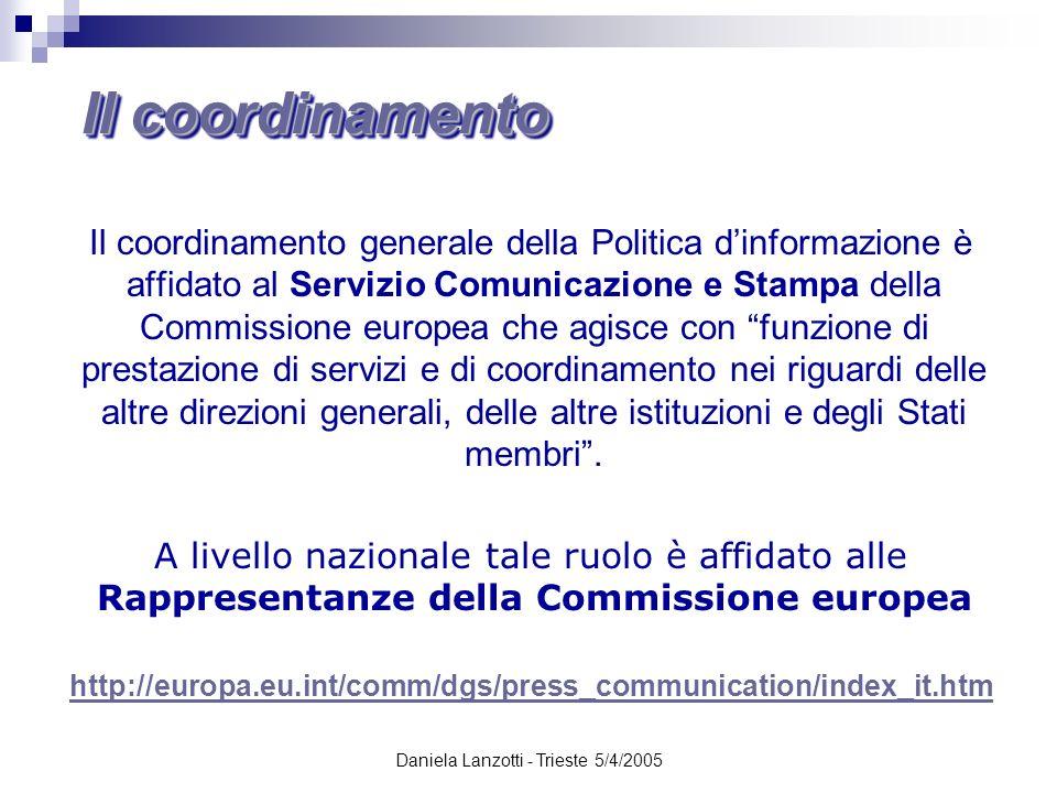 Daniela Lanzotti - Trieste 5/4/2005 Il coordinamento generale della Politica dinformazione è affidato al Servizio Comunicazione e Stampa della Commiss