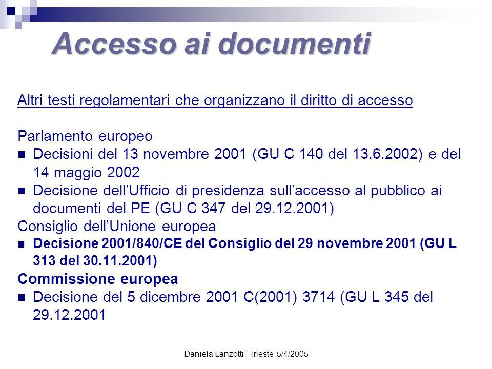 Daniela Lanzotti - Trieste 5/4/2005 Accesso ai documenti Altri testi regolamentari che organizzano il diritto di accesso Parlamento europeo Decisioni