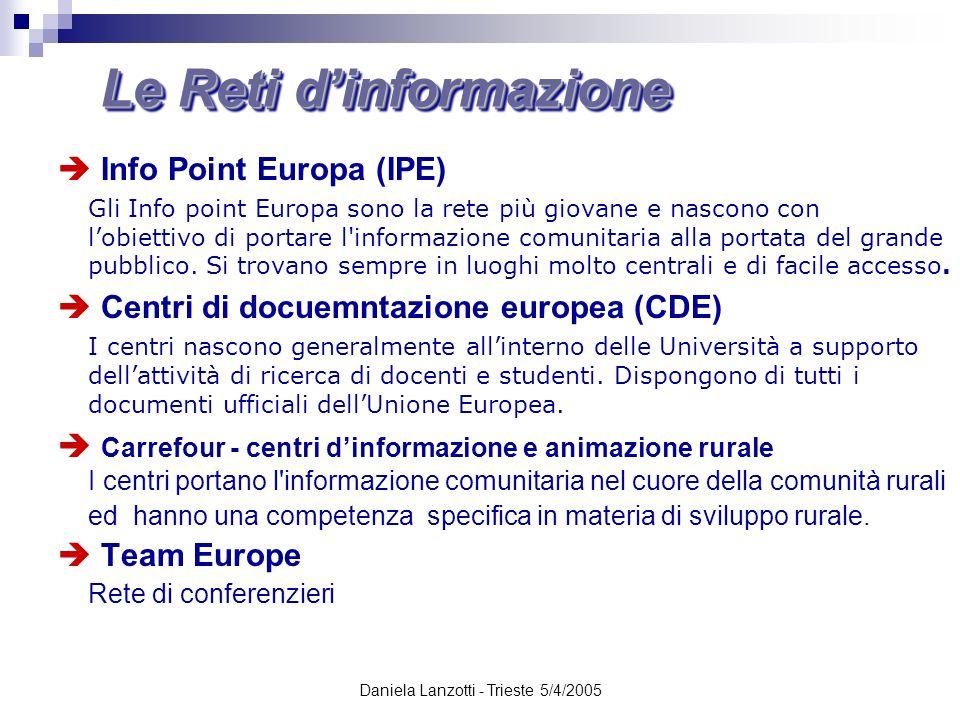 Daniela Lanzotti - Trieste 5/4/2005 Le Reti dinformazione Info Point Europa (IPE) Gli Info point Europa sono la rete più giovane e nascono con lobiett
