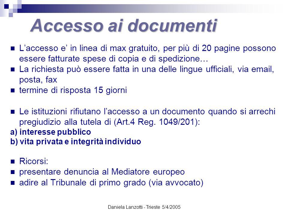 Daniela Lanzotti - Trieste 5/4/2005 Accesso ai documenti Laccesso e in linea di max gratuito, per più di 20 pagine possono essere fatturate spese di c