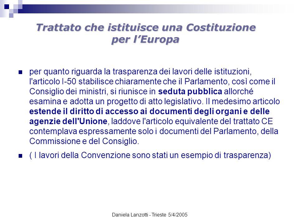Daniela Lanzotti - Trieste 5/4/2005 Trattato che istituisce una Costituzione per lEuropa ARTICOLO I-50 Trasparenza dei lavori delle istituzioni, organi e organismi dell Unione 1.
