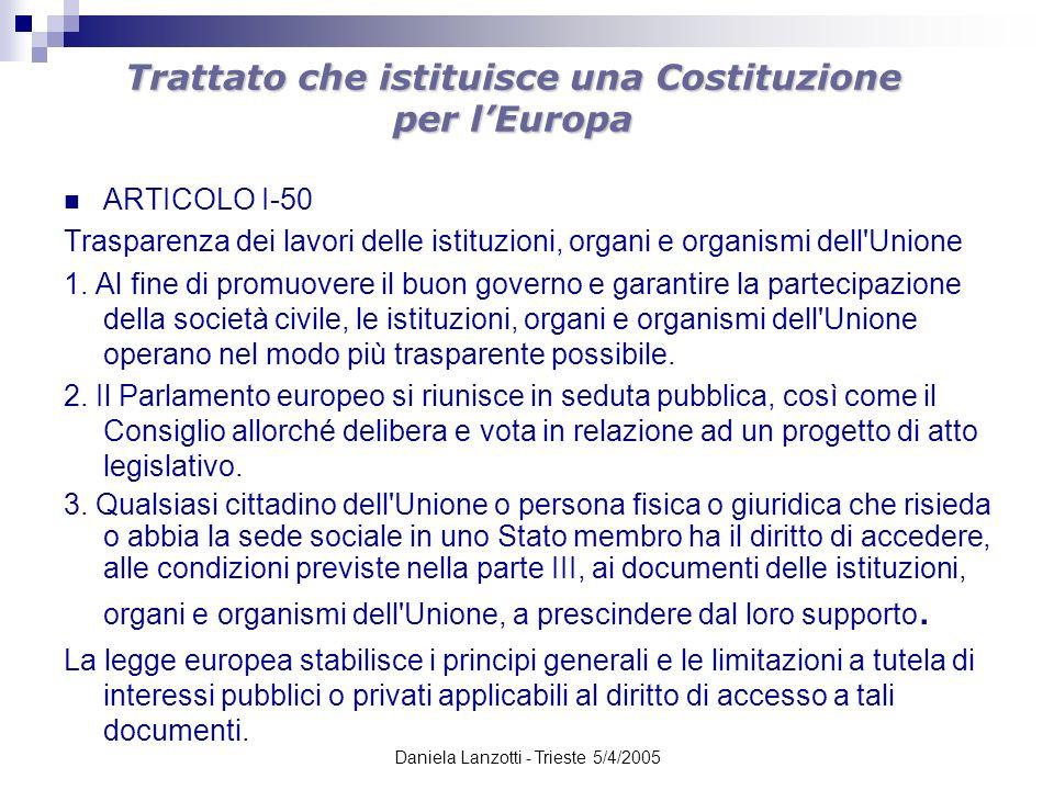 Daniela Lanzotti - Trieste 5/4/2005 Trattato che istituisce una Costituzione per lEuropa ARTICOLO I-50 Trasparenza dei lavori delle istituzioni, organ