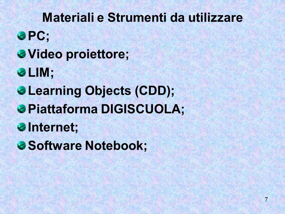 7 Materiali e Strumenti da utilizzare PC; Video proiettore; LIM; Learning Objects (CDD); Piattaforma DIGISCUOLA; Internet; Software Notebook;