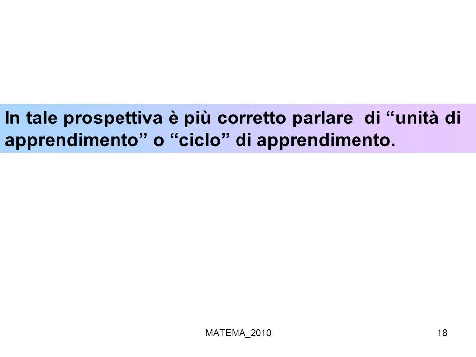MATEMA_201018 In tale prospettiva è più corretto parlare di unità di apprendimento o ciclo di apprendimento.