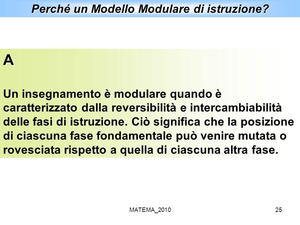 MATEMA_201025 Perché un Modello Modulare di istruzione? A Un insegnamento è modulare quando è caratterizzato dalla reversibilità e intercambiabilità d