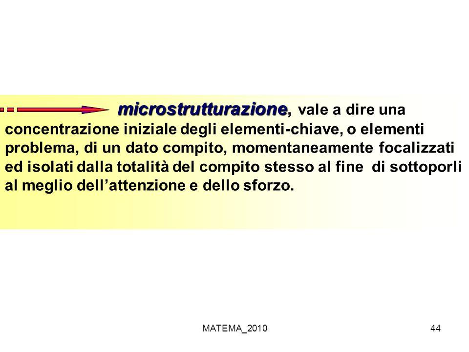 MATEMA_201044 microstrutturazione microstrutturazione, vale a dire una concentrazione iniziale degli elementi-chiave, o elementi problema, di un dato