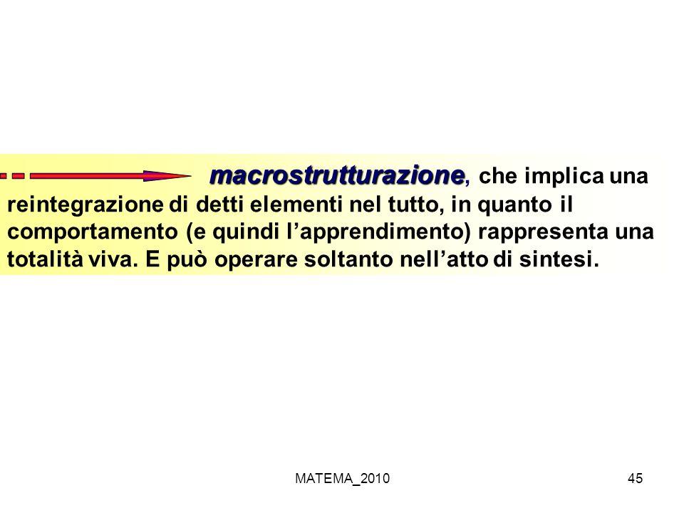 MATEMA_201045 macrostrutturazione macrostrutturazione, che implica una reintegrazione di detti elementi nel tutto, in quanto il comportamento (e quind