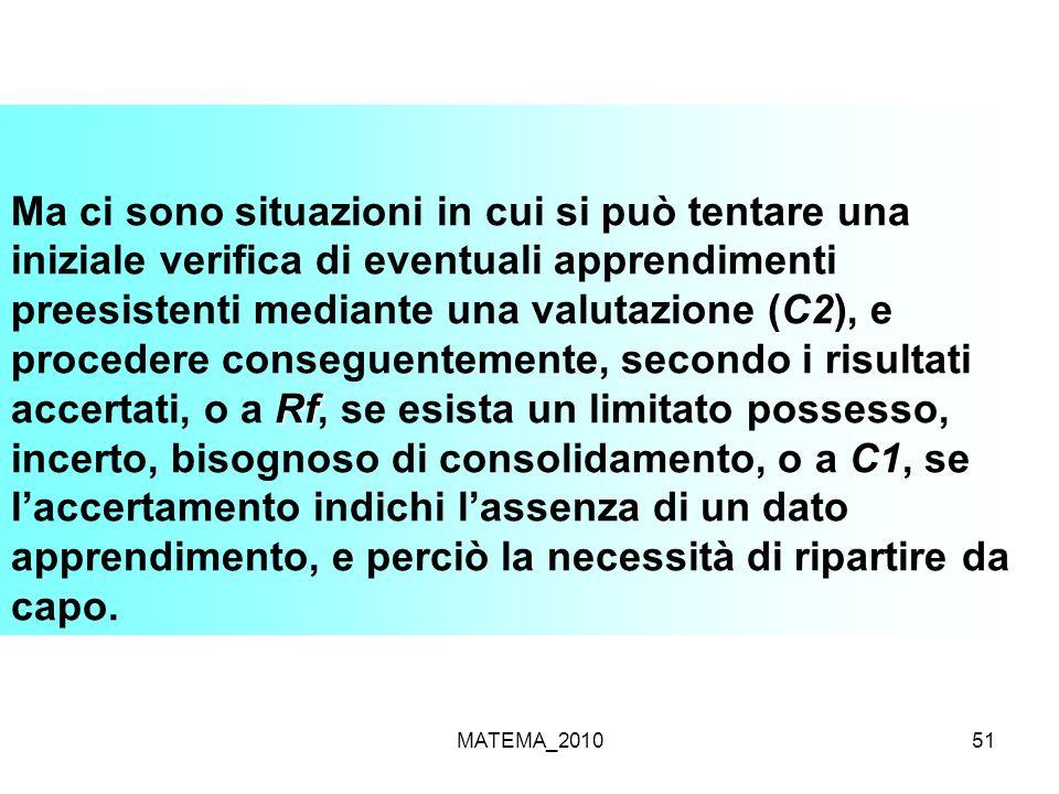 MATEMA_201051 C2 Rf C1 Ma ci sono situazioni in cui si può tentare una iniziale verifica di eventuali apprendimenti preesistenti mediante una valutazi
