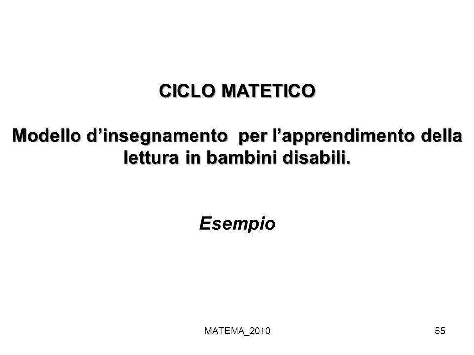 MATEMA_201055 CICLO MATETICO Modello dinsegnamento per lapprendimento della lettura in bambini disabili. Esempio