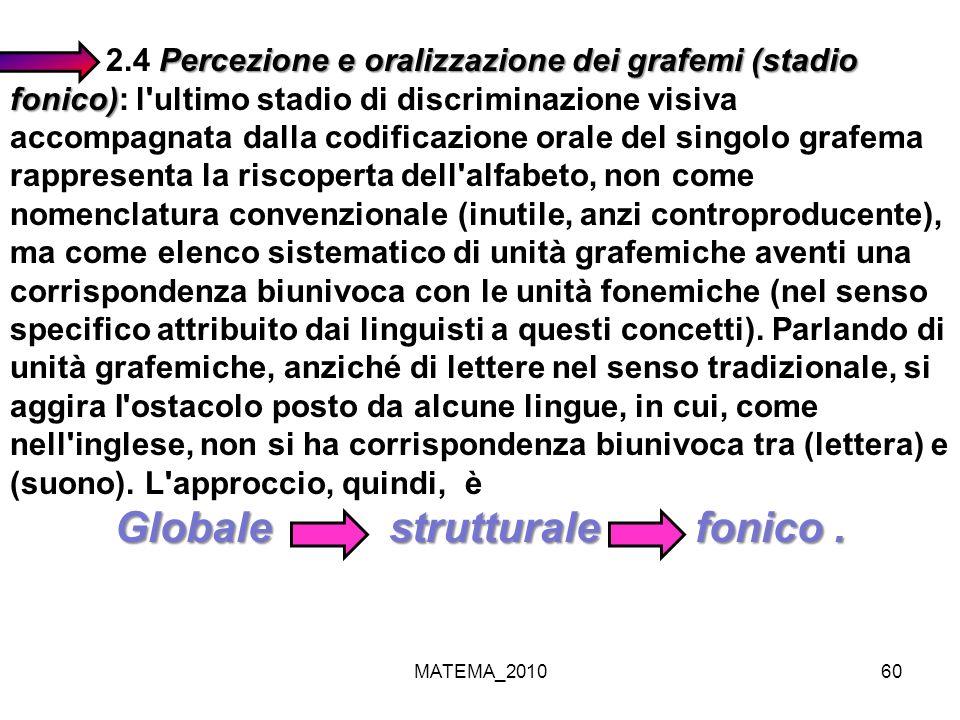 MATEMA_201060 Percezione e oralizzazione dei grafemi (stadio fonico) 2.4 Percezione e oralizzazione dei grafemi (stadio fonico): l'ultimo stadio di di