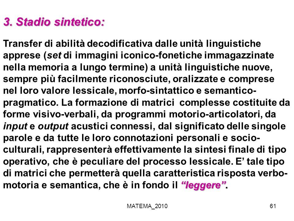 MATEMA_201061 3. Stadio sintetico: leggere. Transfer di abilità decodificativa dalle unità linguistiche apprese (set di immagini iconico-fonetiche imm