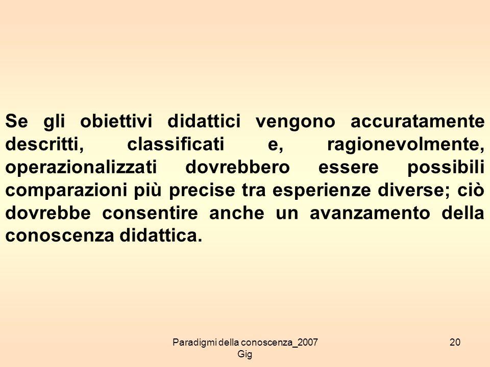 Paradigmi della conoscenza_2007 Gig 20 Se gli obiettivi didattici vengono accuratamente descritti, classificati e, ragionevolmente, operazionalizzati