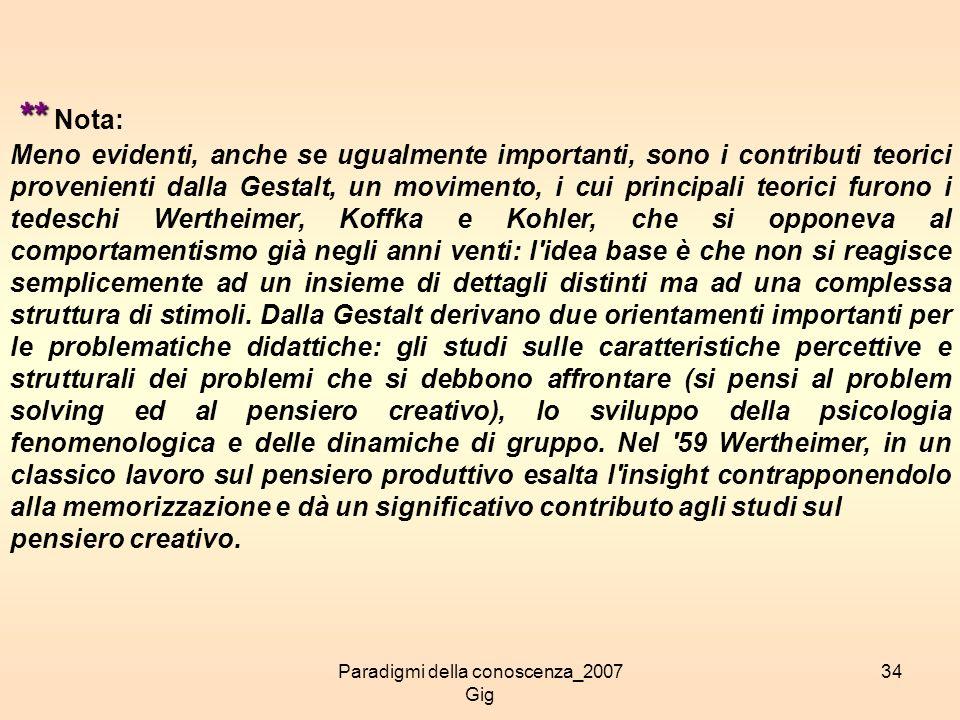 Paradigmi della conoscenza_2007 Gig 34 ** ** Nota: Meno evidenti, anche se ugualmente importanti, sono i contributi teorici provenienti dalla Gestalt,