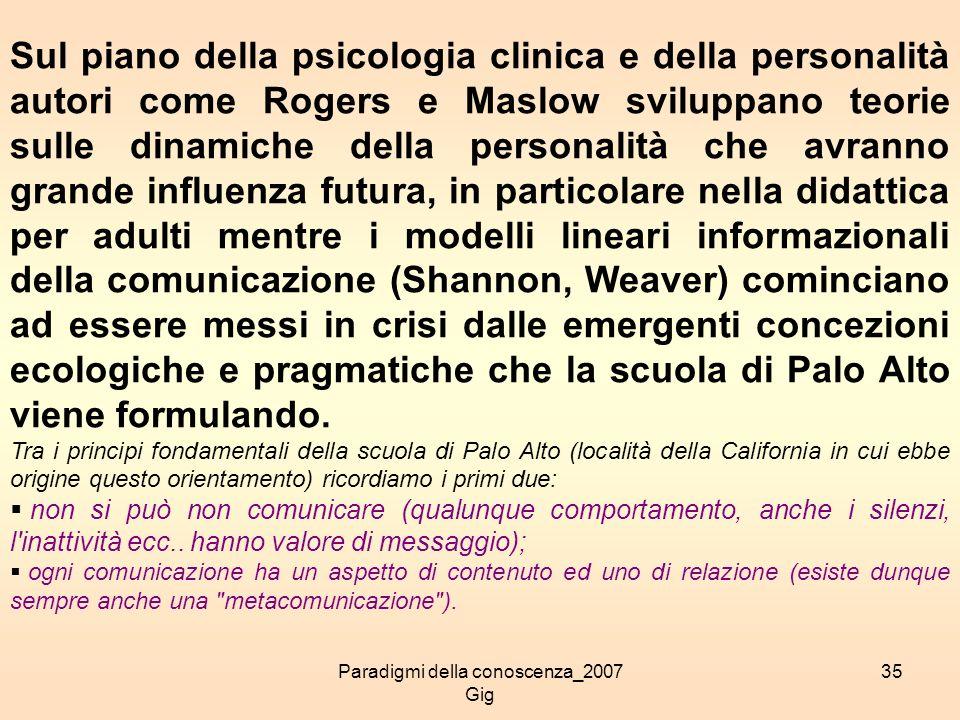 Paradigmi della conoscenza_2007 Gig 35 Sul piano della psicologia clinica e della personalità autori come Rogers e Maslow sviluppano teorie sulle dina
